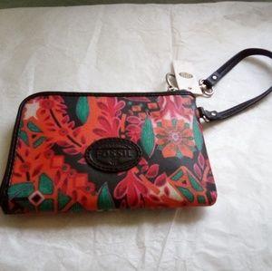 NWT Fossil Keyper Multi Floral Wristlet Wallet
